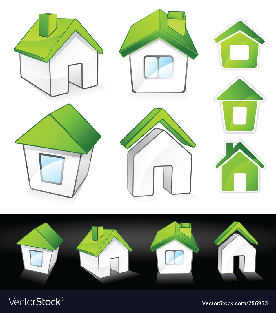 Green eco homes vector | Price: 3 Credit (USD $3)