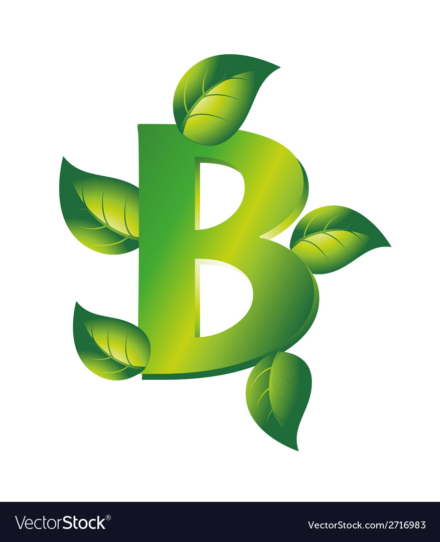 Green letter b logo with leaf vector | Price: 1 Credit (USD $1)