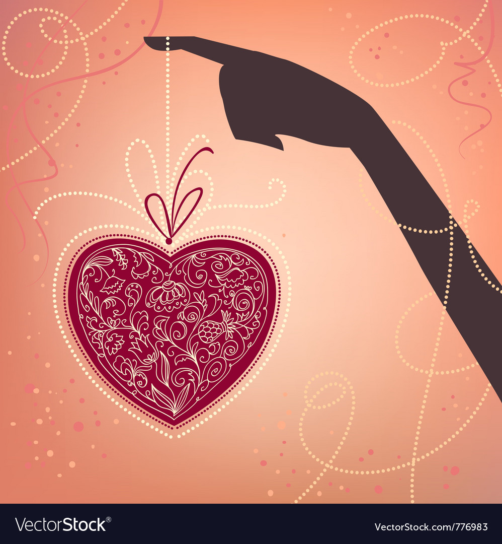 Hand and heart valentines day card vector | Price: 1 Credit (USD $1)