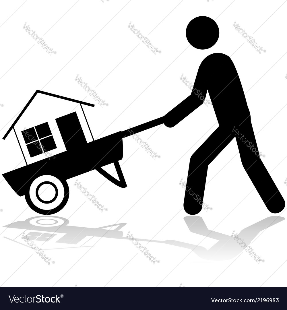 House on a wheelbarrow vector | Price: 1 Credit (USD $1)