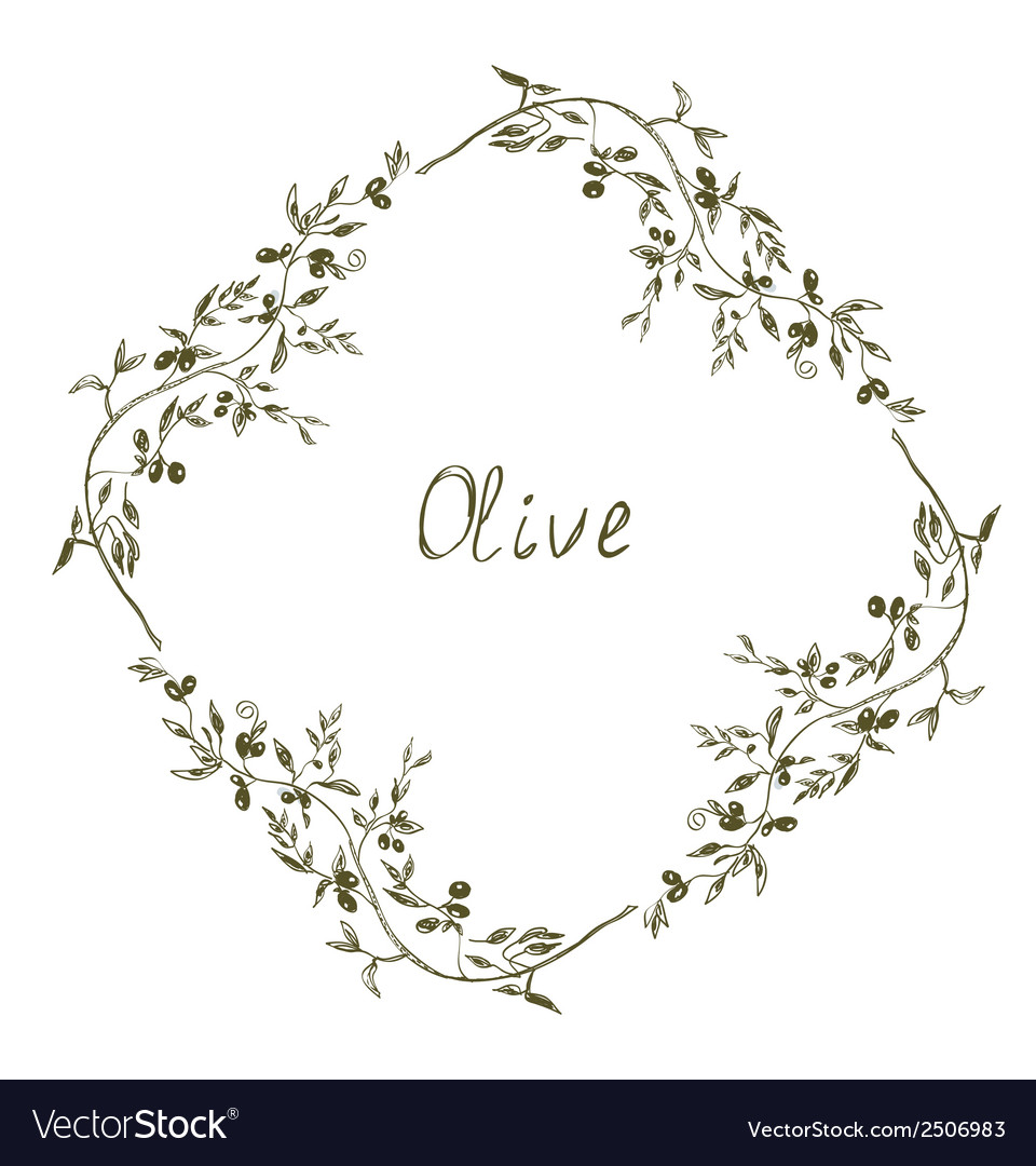 Olive frame hand drawn design vector | Price: 1 Credit (USD $1)