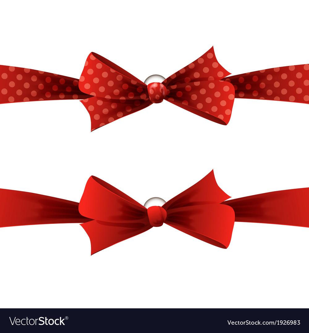 Red polka dot bow and ribbon vector | Price: 1 Credit (USD $1)