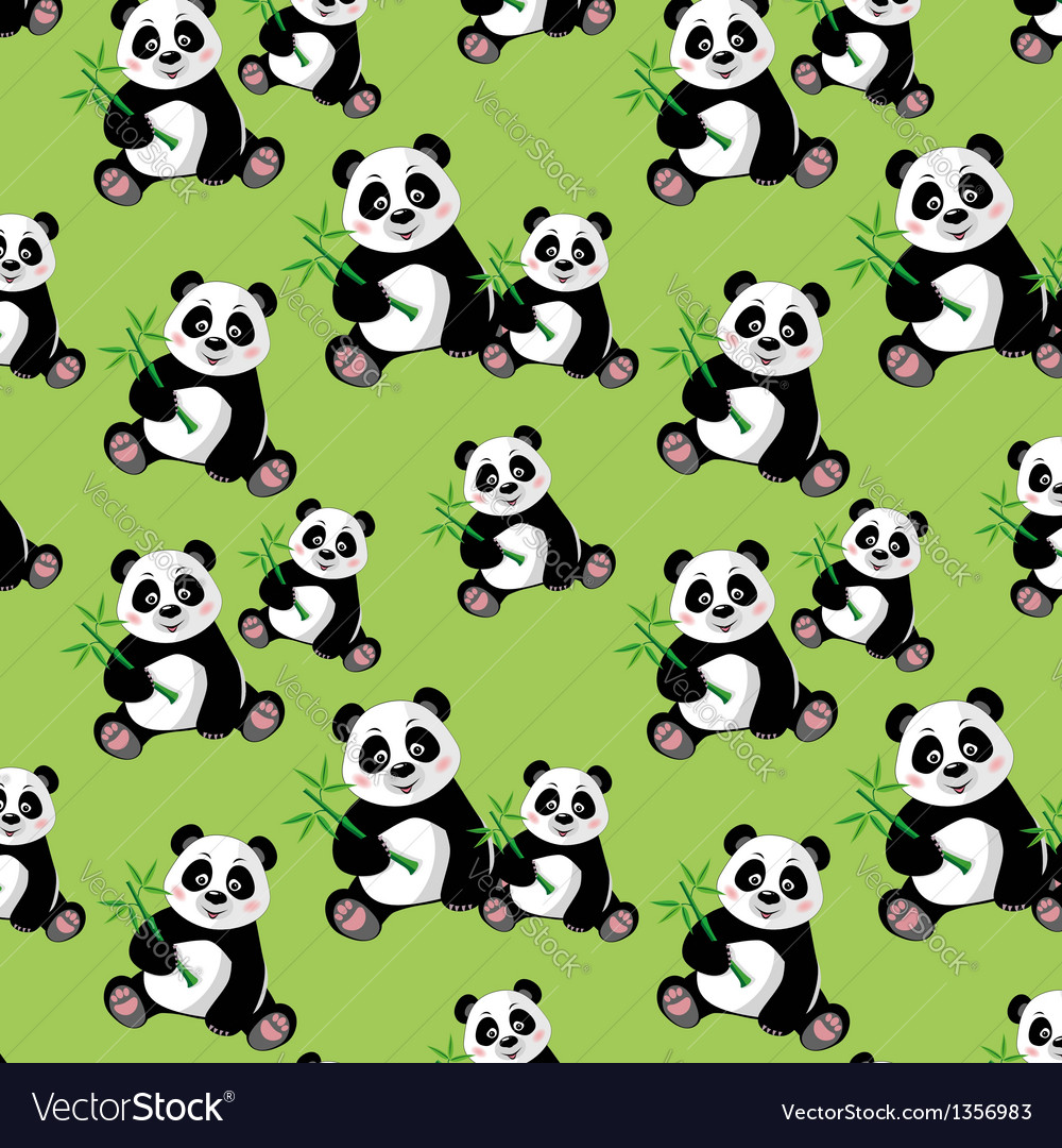 Seamless pattern with sitting cute panda and bambo vector   Price: 1 Credit (USD $1)