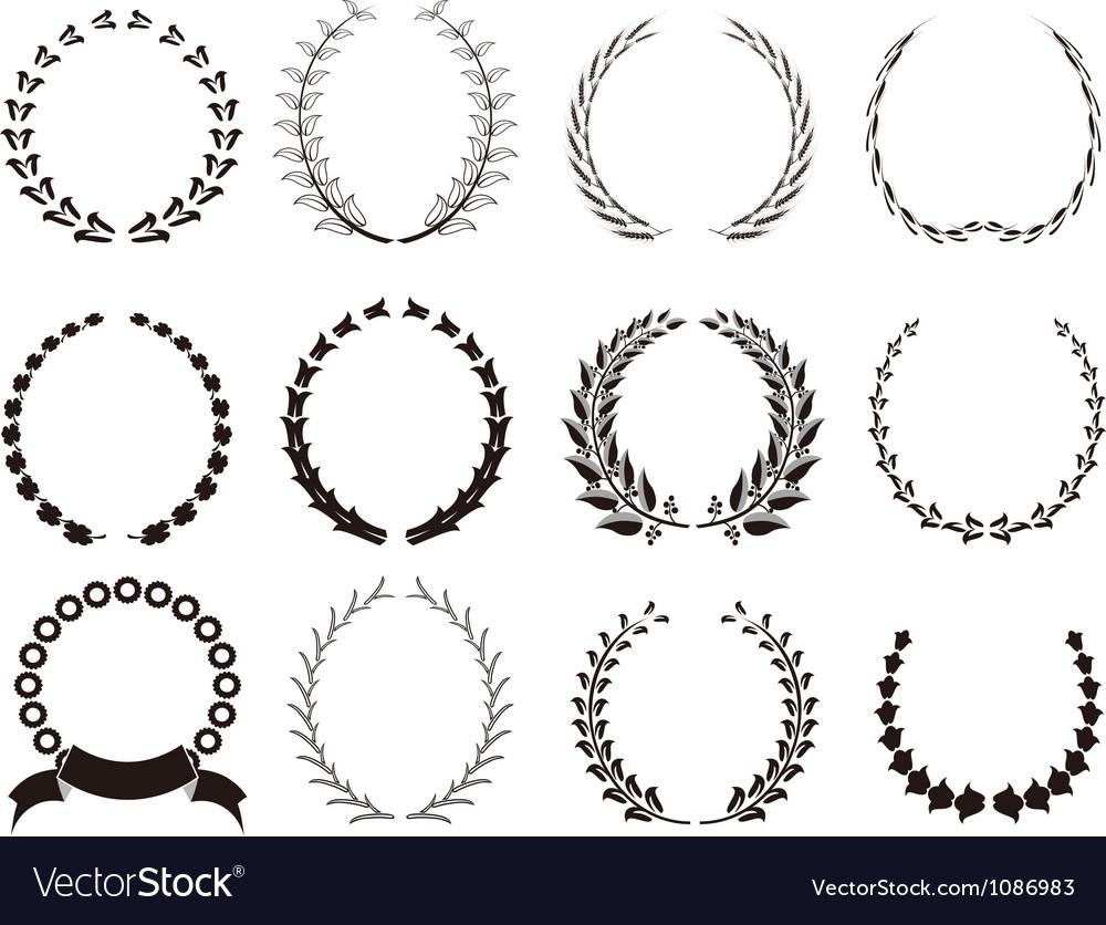 Set of black laurel wreaths vector | Price: 1 Credit (USD $1)