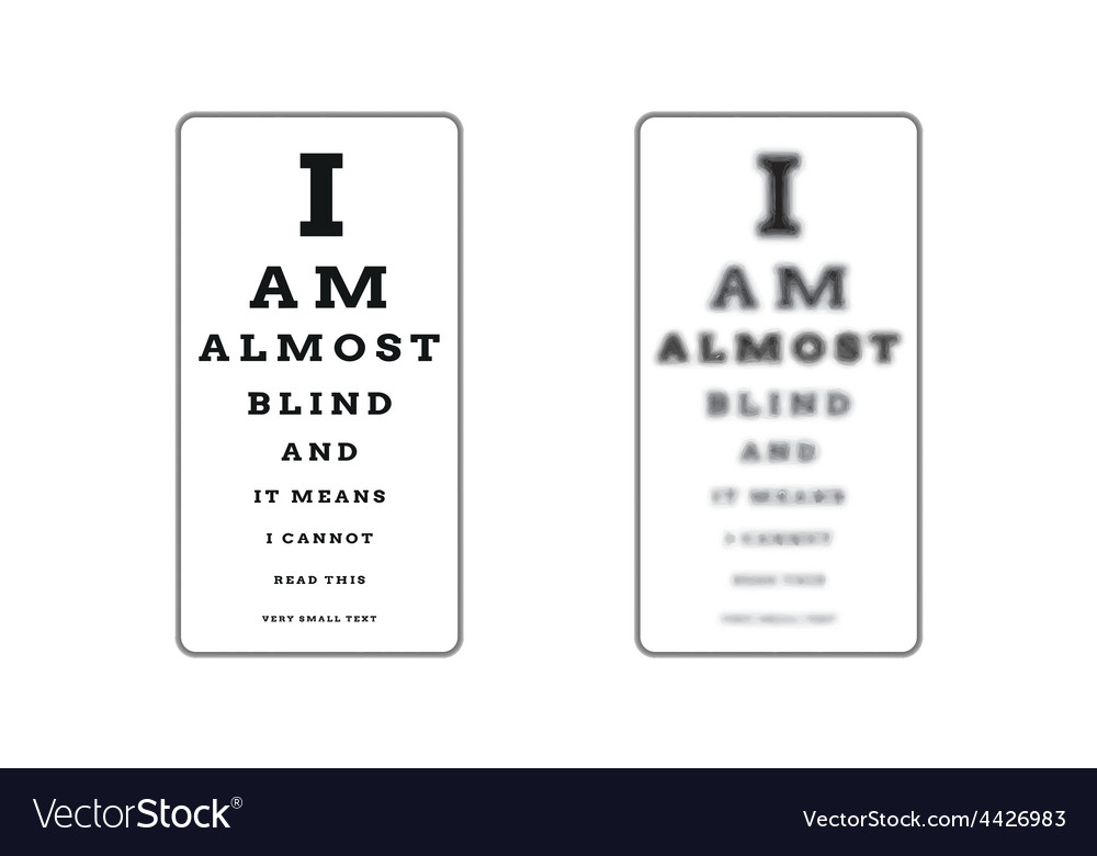 Sharp and unsharp snellen chart almost blind vector | Price: 1 Credit (USD $1)