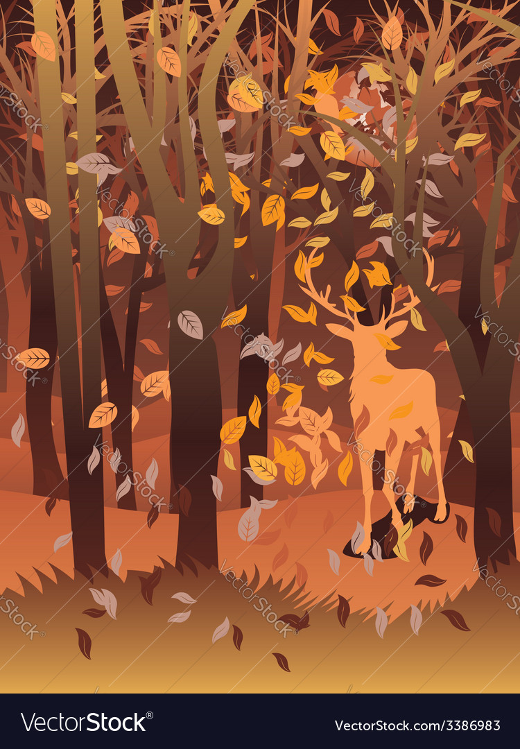 Stag in autumn forest vector | Price: 1 Credit (USD $1)