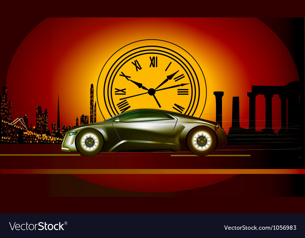 Time machine runs to the sunset in the backdro vector | Price: 1 Credit (USD $1)