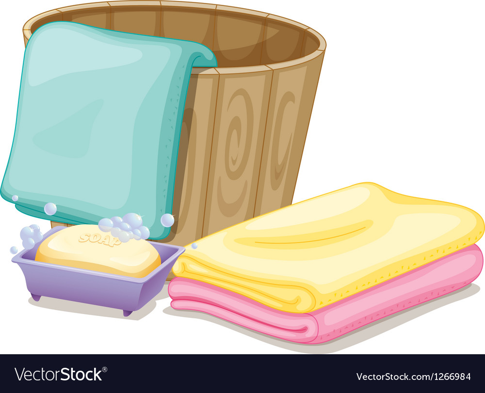 A pail with towels and a soap in a soap box vector | Price: 1 Credit (USD $1)