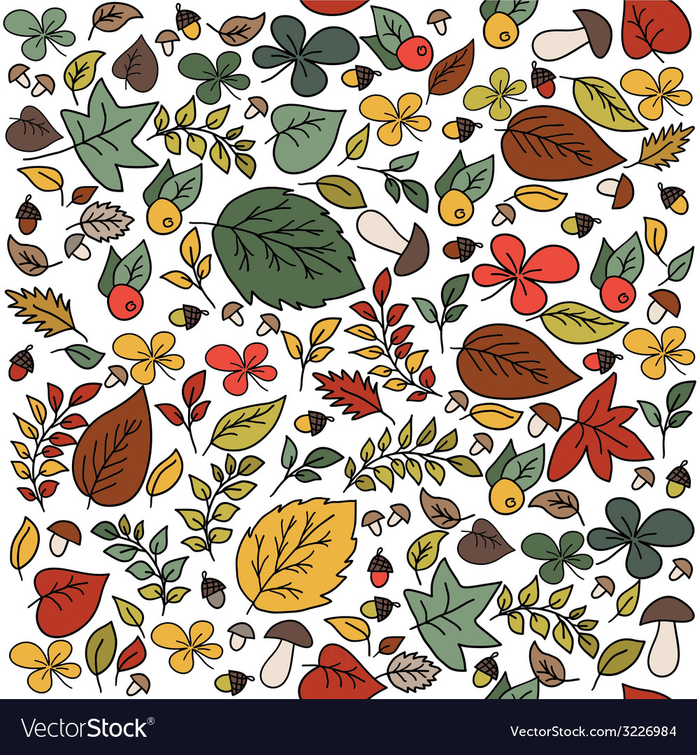 Autumn seamless pattern with leaves vector | Price: 1 Credit (USD $1)