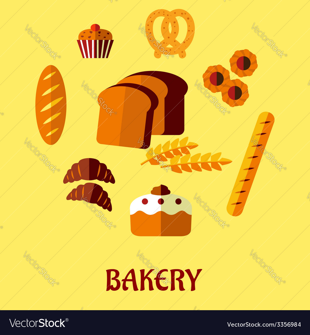 Bakery flat icon set on yellow background vector | Price: 1 Credit (USD $1)