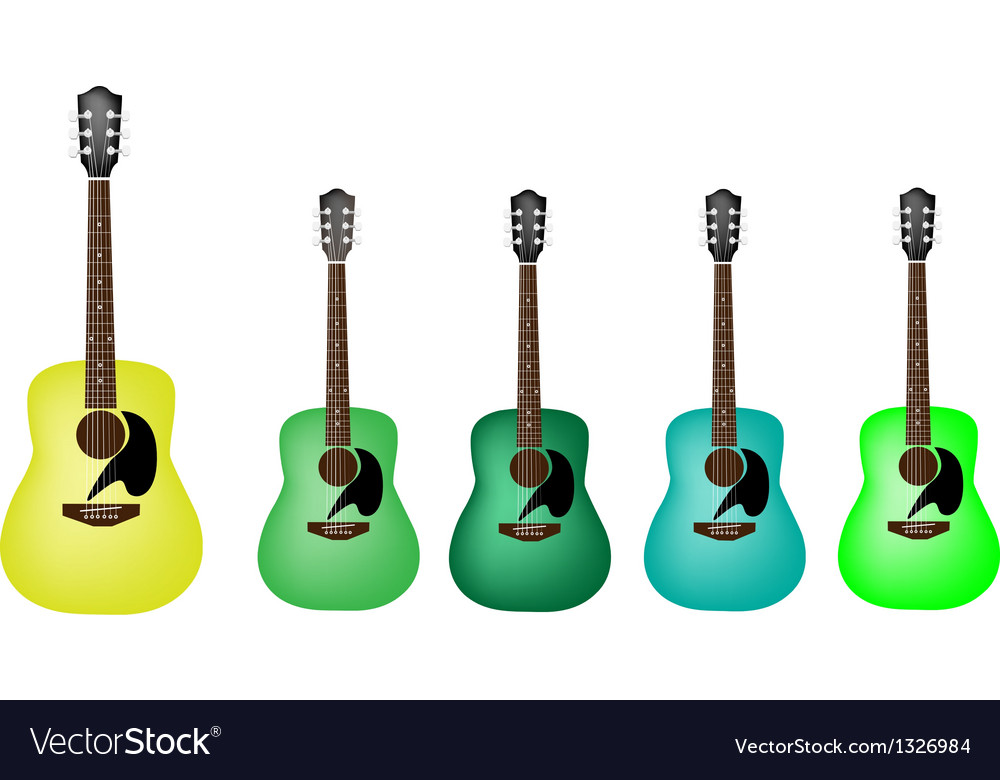 Beautiful green colors of acoustic guitars vector | Price: 1 Credit (USD $1)