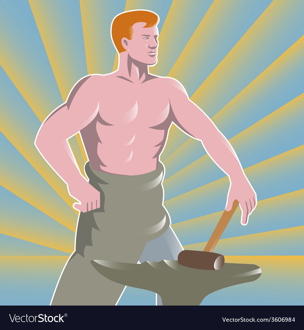 Blacksmith with hammer and anvil retro style vector   Price: 1 Credit (USD $1)