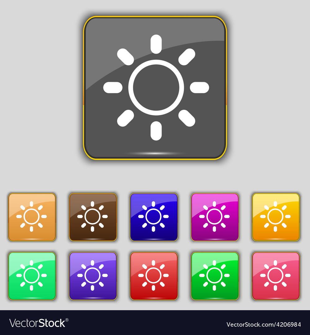 Brightness icon sign set with eleven colored vector | Price: 1 Credit (USD $1)
