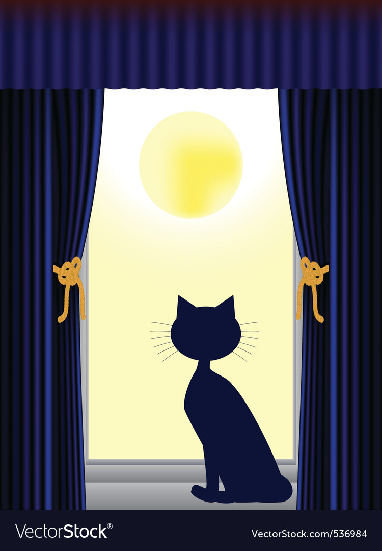 Cat silhouette sitting on window sill looking out vector | Price: 1 Credit (USD $1)