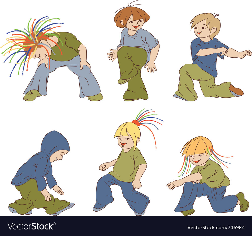 Children dancing hip-hop vector | Price: 3 Credit (USD $3)