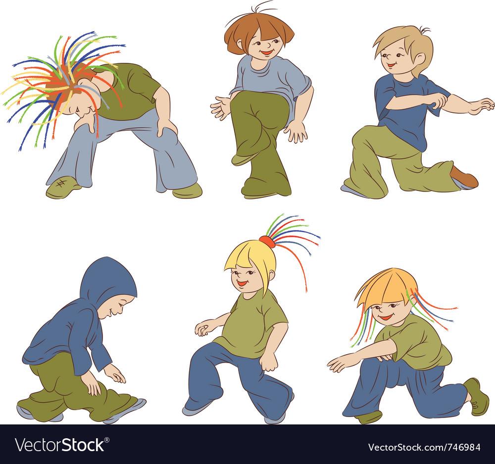 Children dancing hip-hop vector | Price: 3 Credit (USD $3)