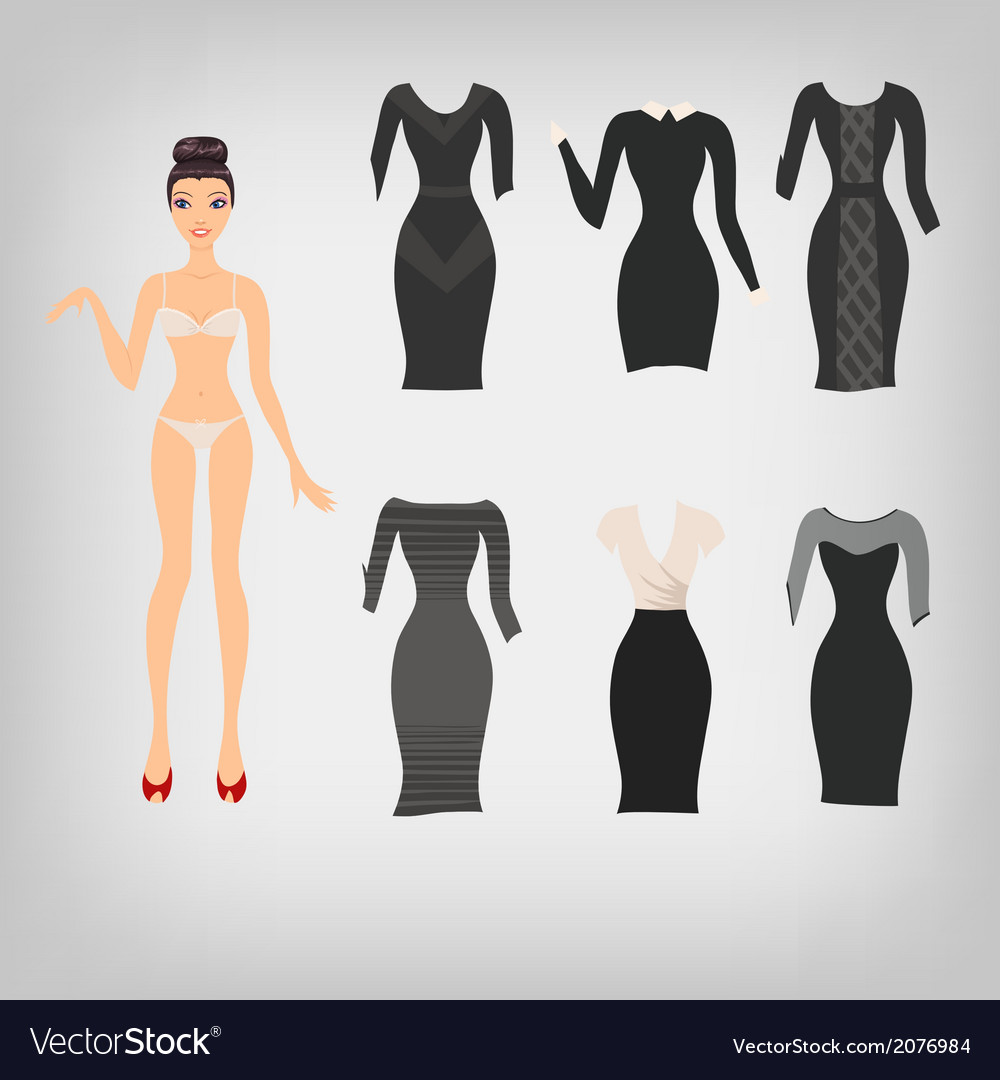Cute simple dress up paper doll with an assortment vector | Price: 1 Credit (USD $1)
