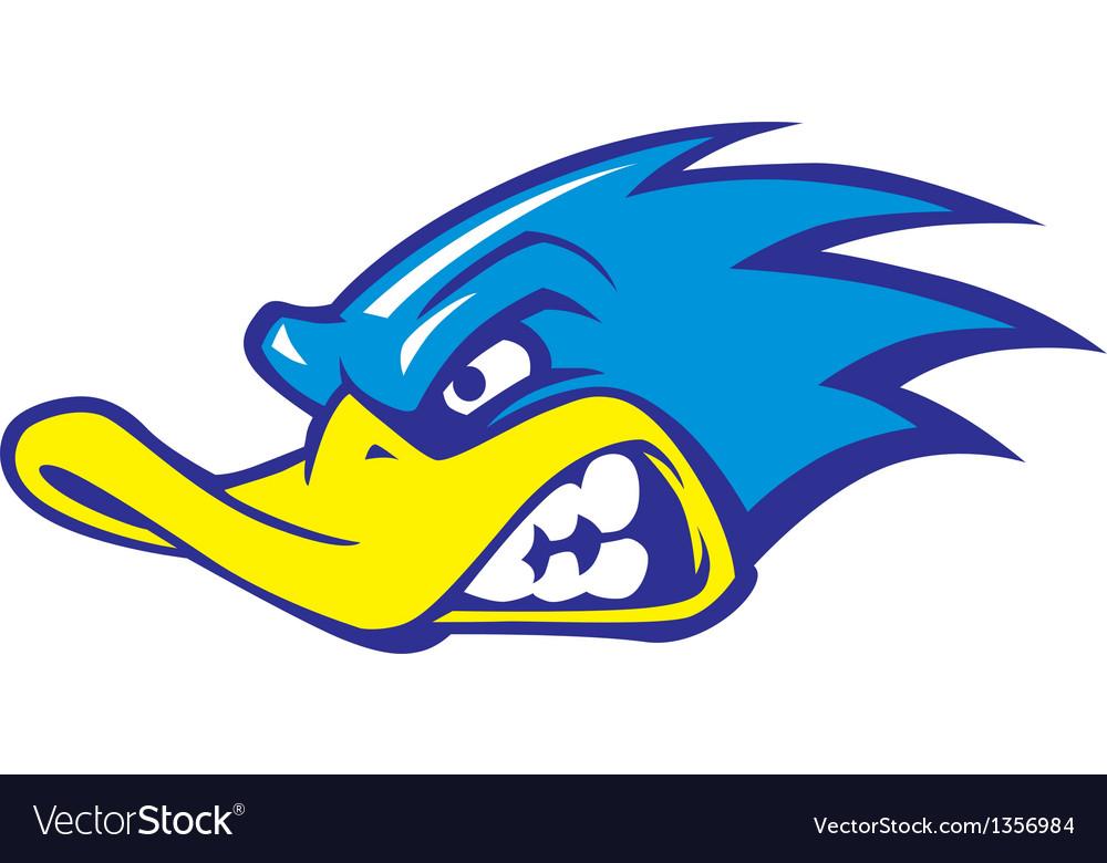 Fast duck mascot vector