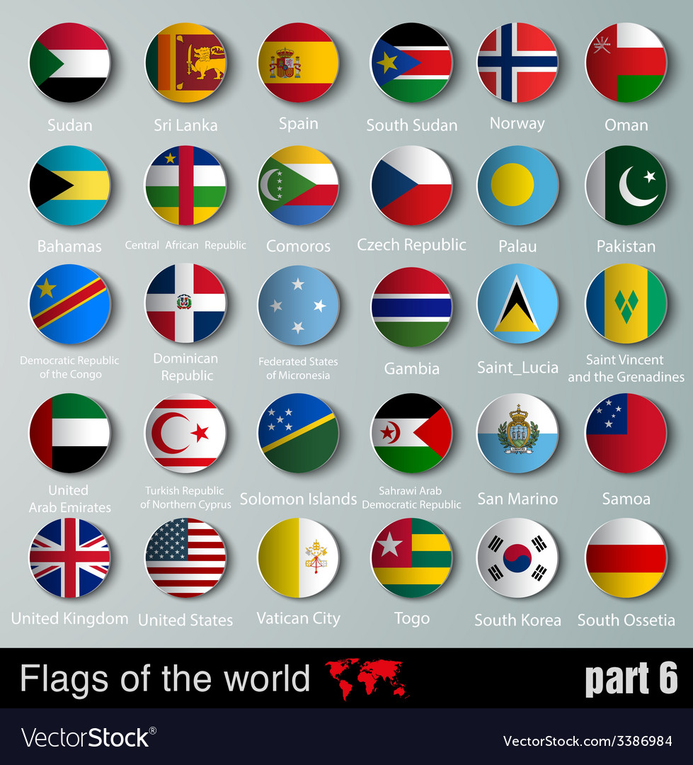Flags of all countries with shadows vector | Price: 1 Credit (USD $1)