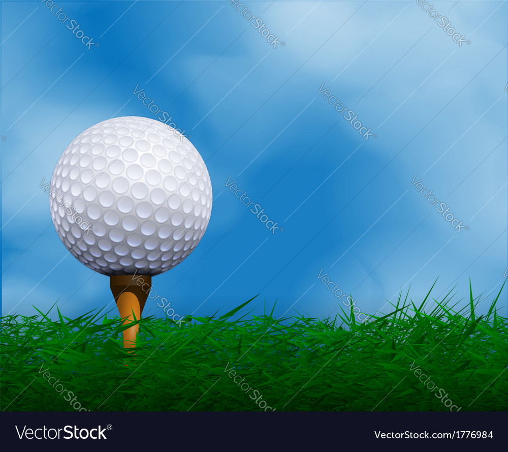 Golf ball in front of sky golf background vector | Price: 1 Credit (USD $1)