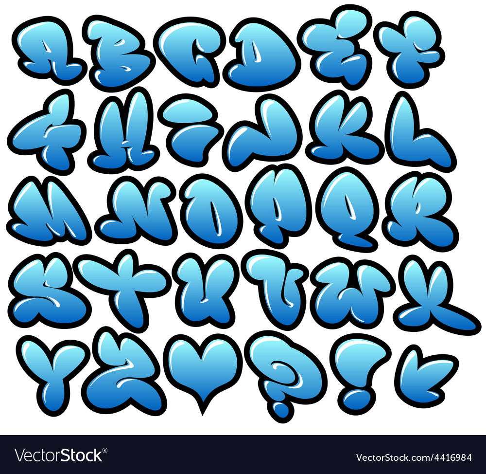 Graffiti bubble blue fonts with gloss and outline vector | Price: 1 Credit (USD $1)