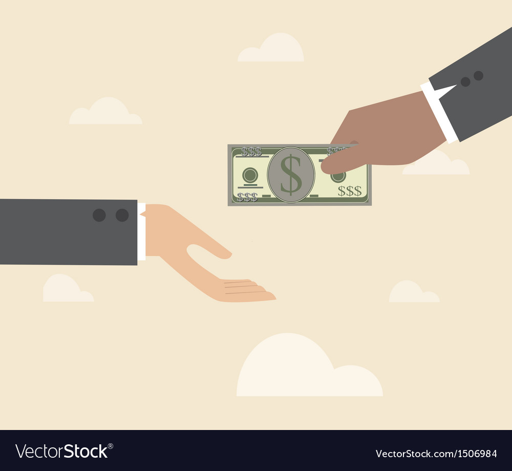 Hand giving money to other hand vector | Price: 1 Credit (USD $1)