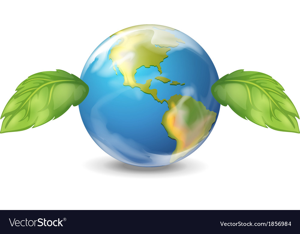 Planet earth with two leaves vector | Price: 1 Credit (USD $1)