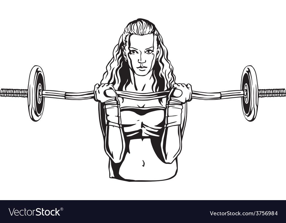 Pretty young woman with a barbell vector | Price: 3 Credit (USD $3)