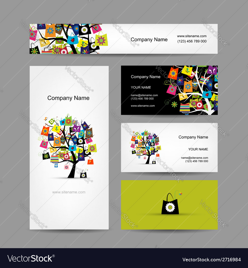 Set of business cards design shopping tree with vector | Price: 1 Credit (USD $1)