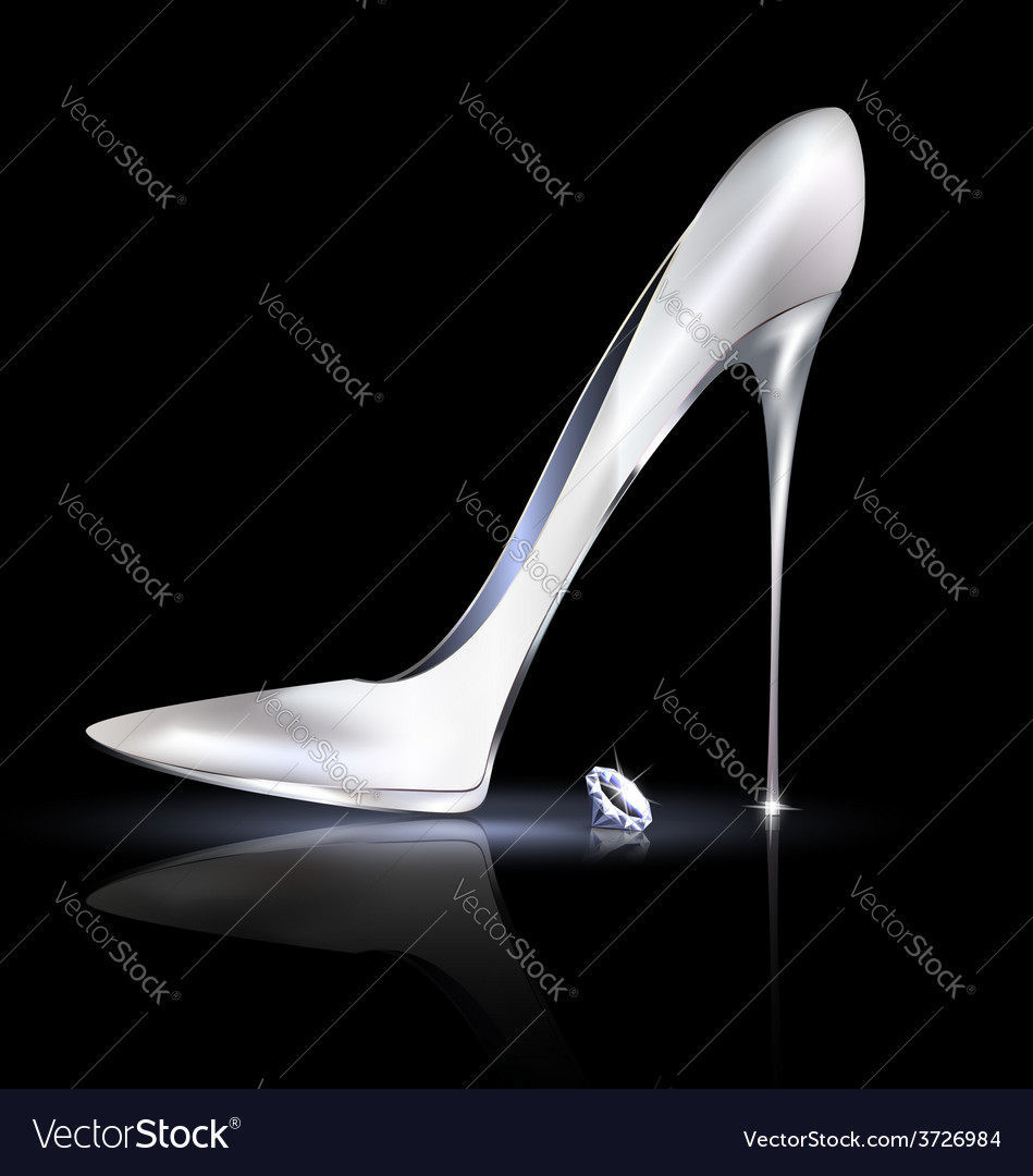 Silver shoe and crystal vector | Price: 1 Credit (USD $1)