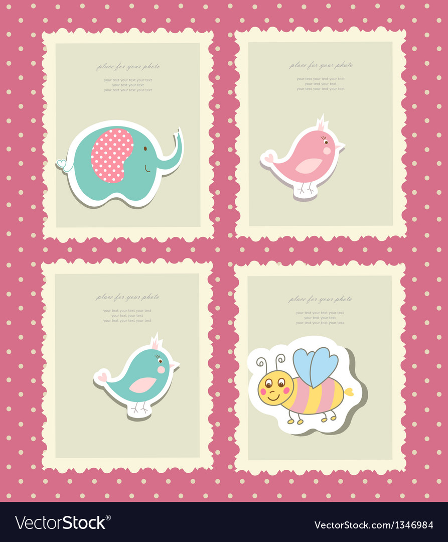 Vintage doodle set little zoo for greeting card vector | Price: 1 Credit (USD $1)
