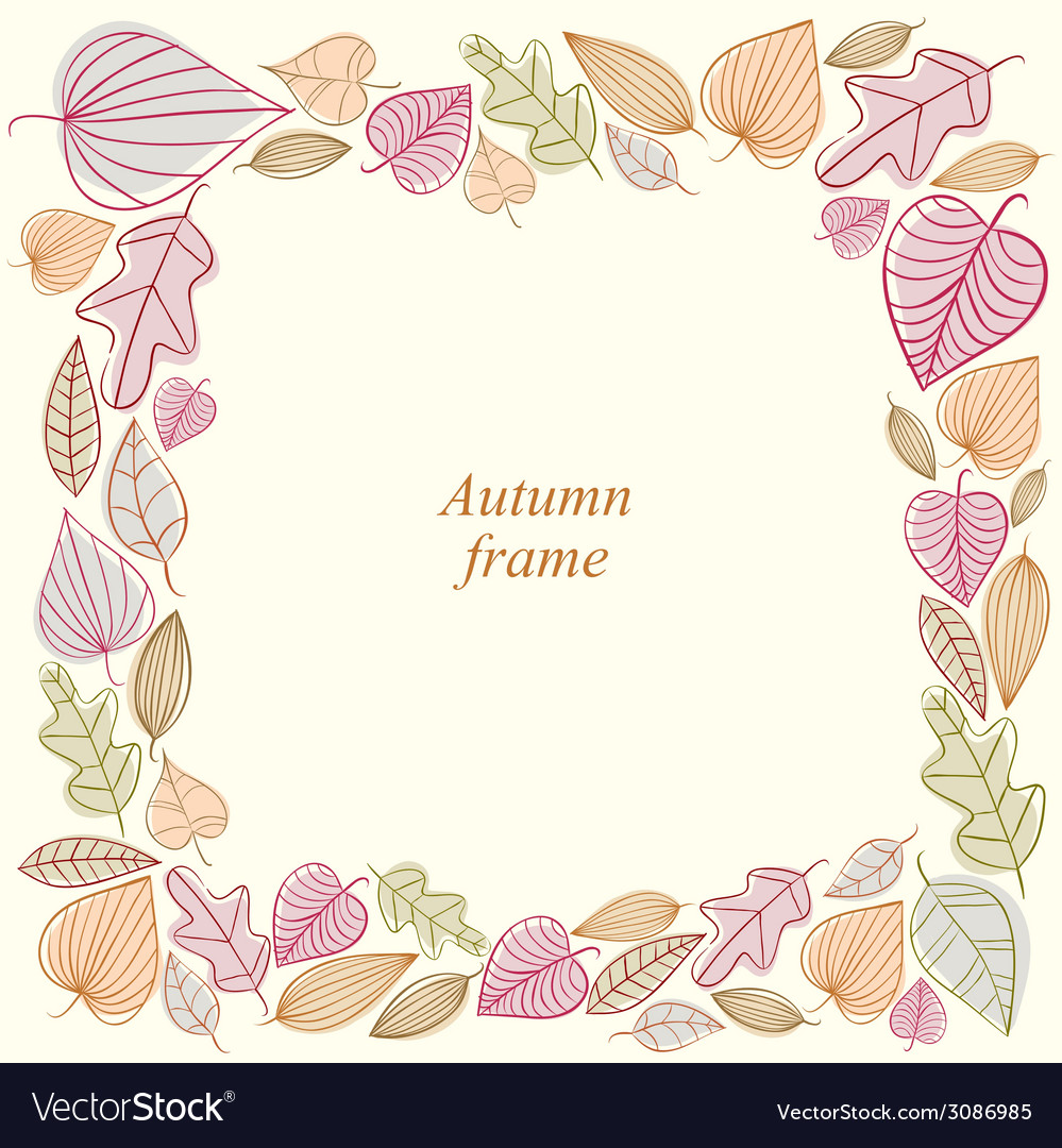 Autumn frame made of leaves vector | Price: 1 Credit (USD $1)