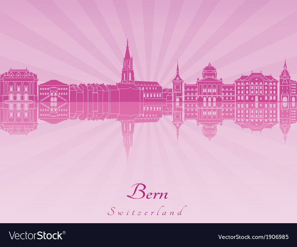 Bern skyline in purple radiant orchid vector | Price: 1 Credit (USD $1)