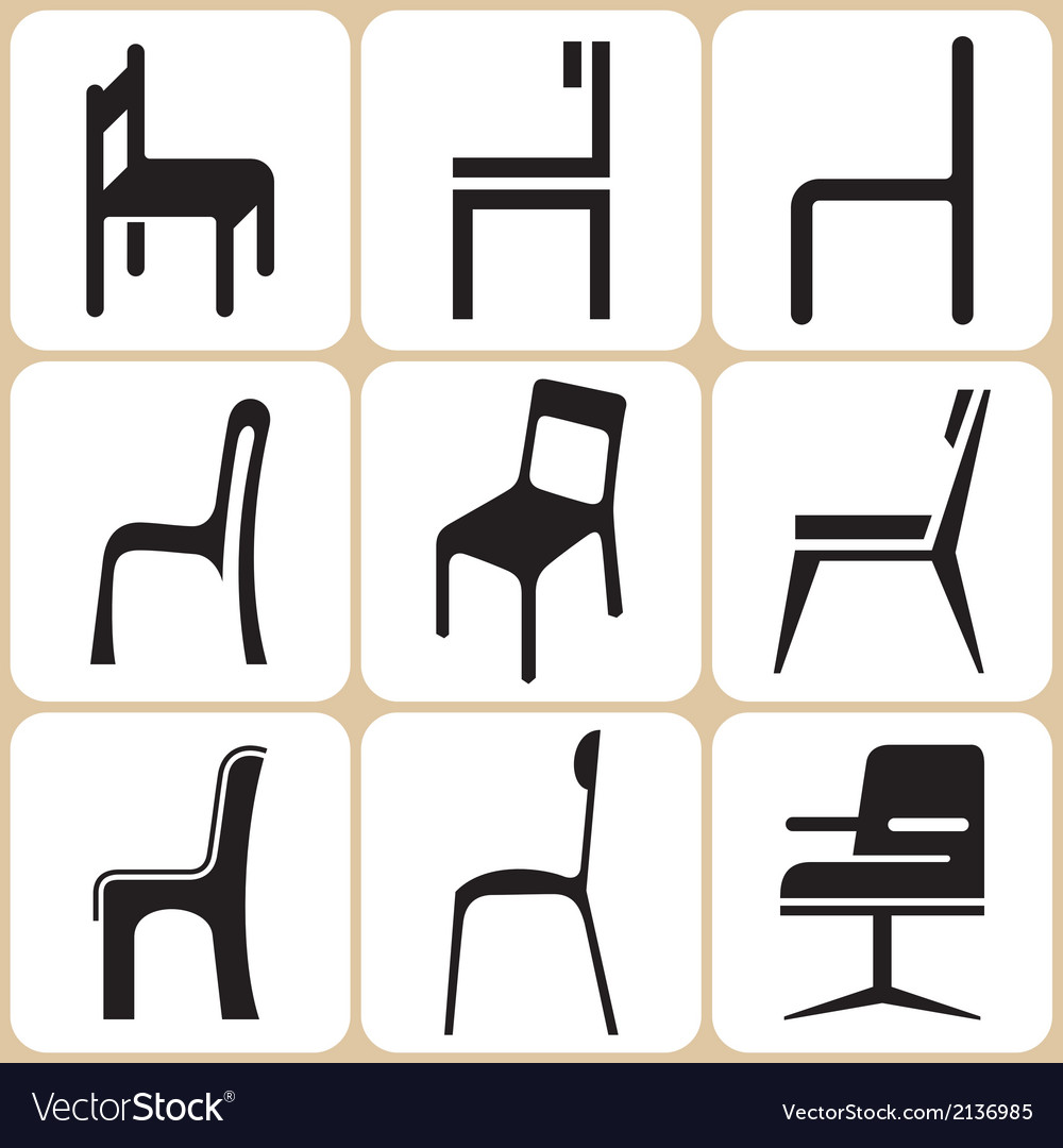 Chair icons set vector | Price: 1 Credit (USD $1)