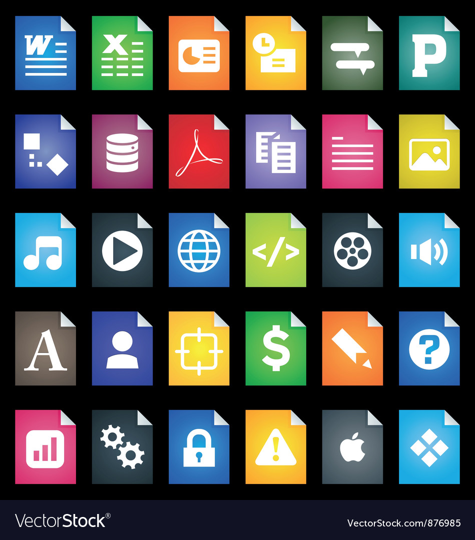File types icons vector | Price: 1 Credit (USD $1)