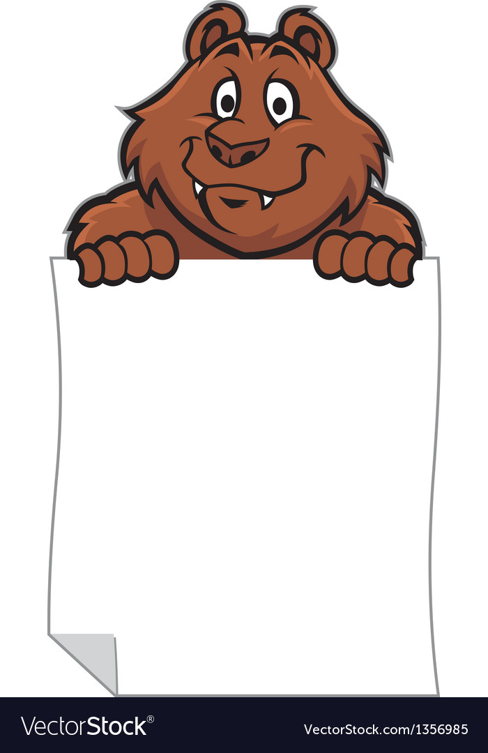 Funny bear hold a blank paper vector | Price: 1 Credit (USD $1)