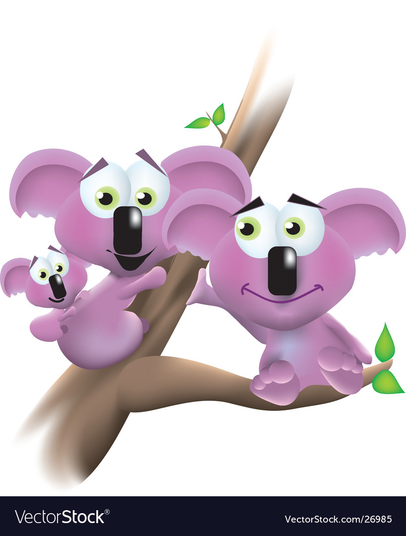 Koala family portrait vector | Price:  Credit (USD $)