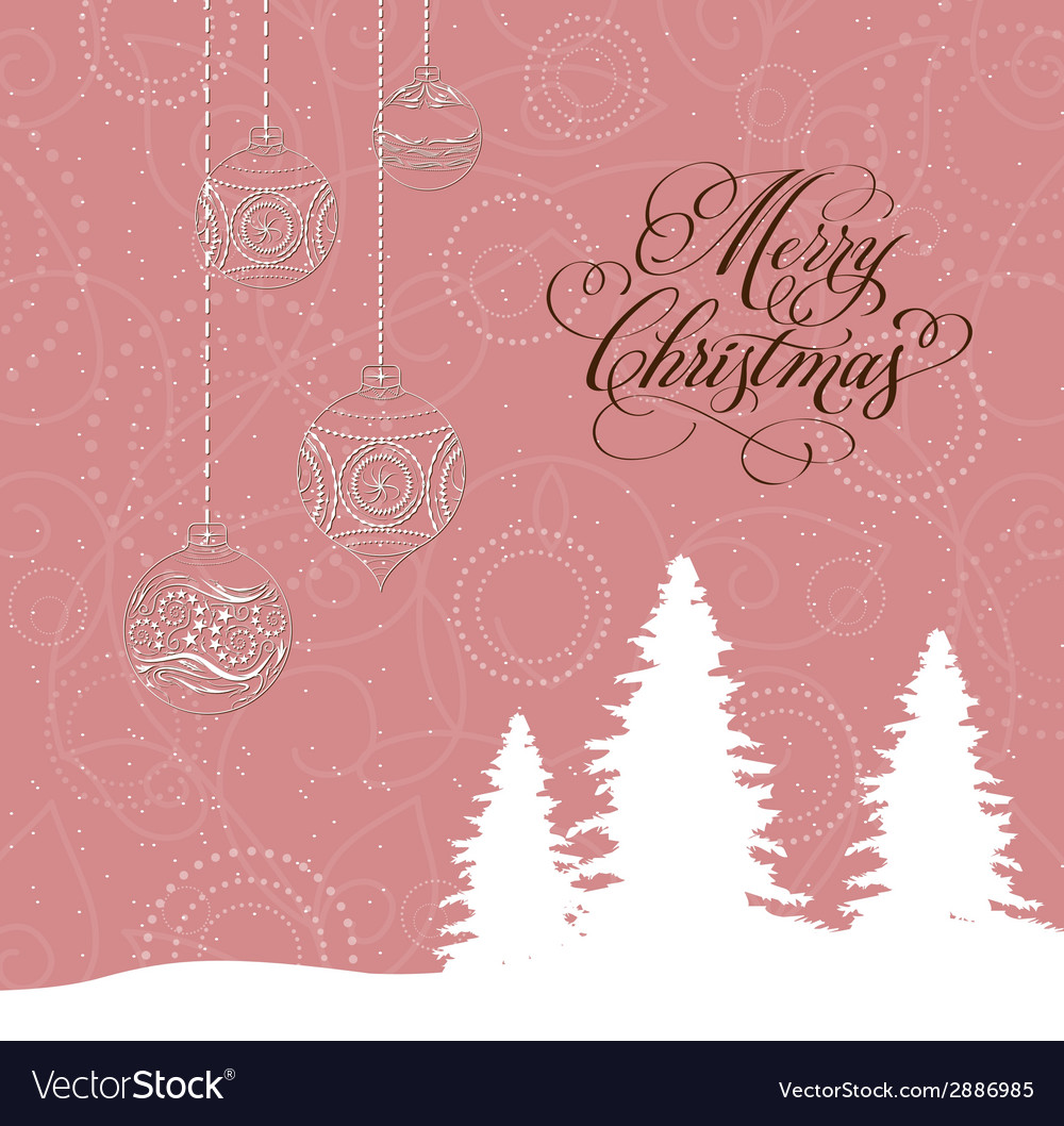 Merry christmas card with christmas trees and vector   Price: 1 Credit (USD $1)
