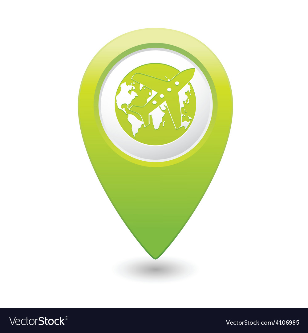 Plane and globe green map pointer vector | Price: 1 Credit (USD $1)