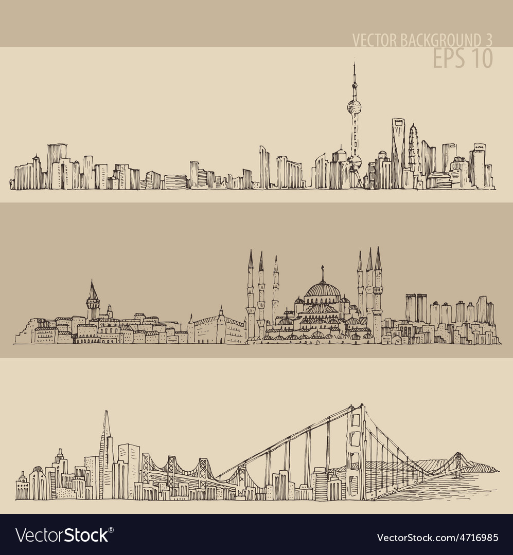 Shanghai istanbul san francisco big city vector | Price: 1 Credit (USD $1)