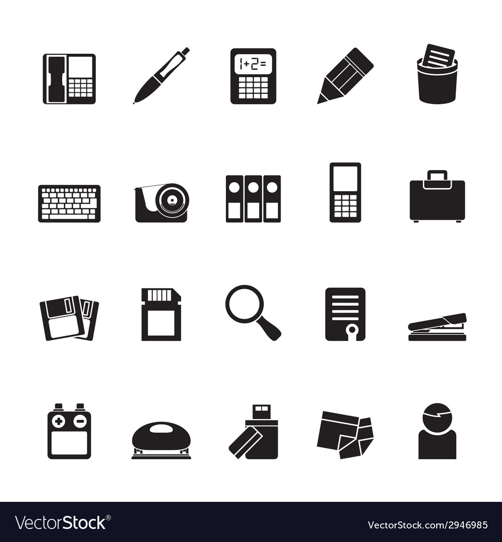Silhouette office tools icons vector | Price: 1 Credit (USD $1)