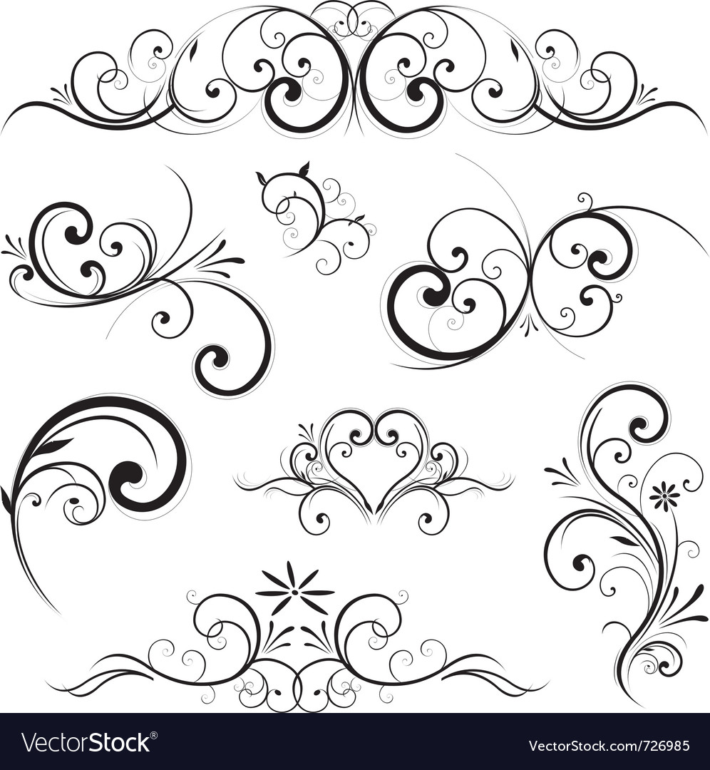 Swirling flourishes decorative floral elements vector | Price: 1 Credit (USD $1)