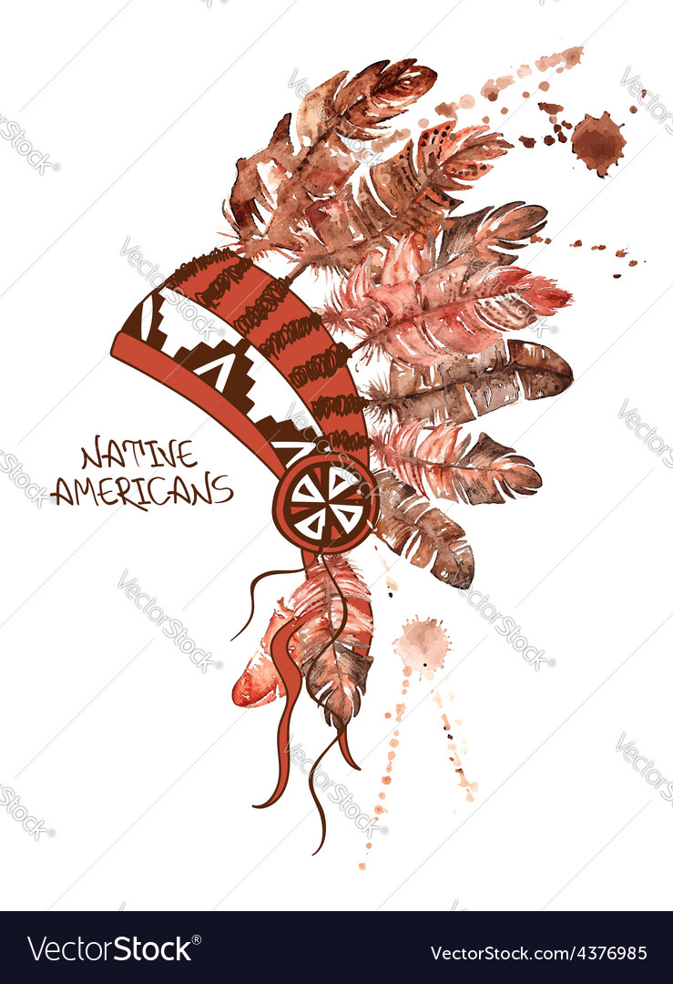 Watercolor american indian chief headdress vector | Price: 1 Credit (USD $1)