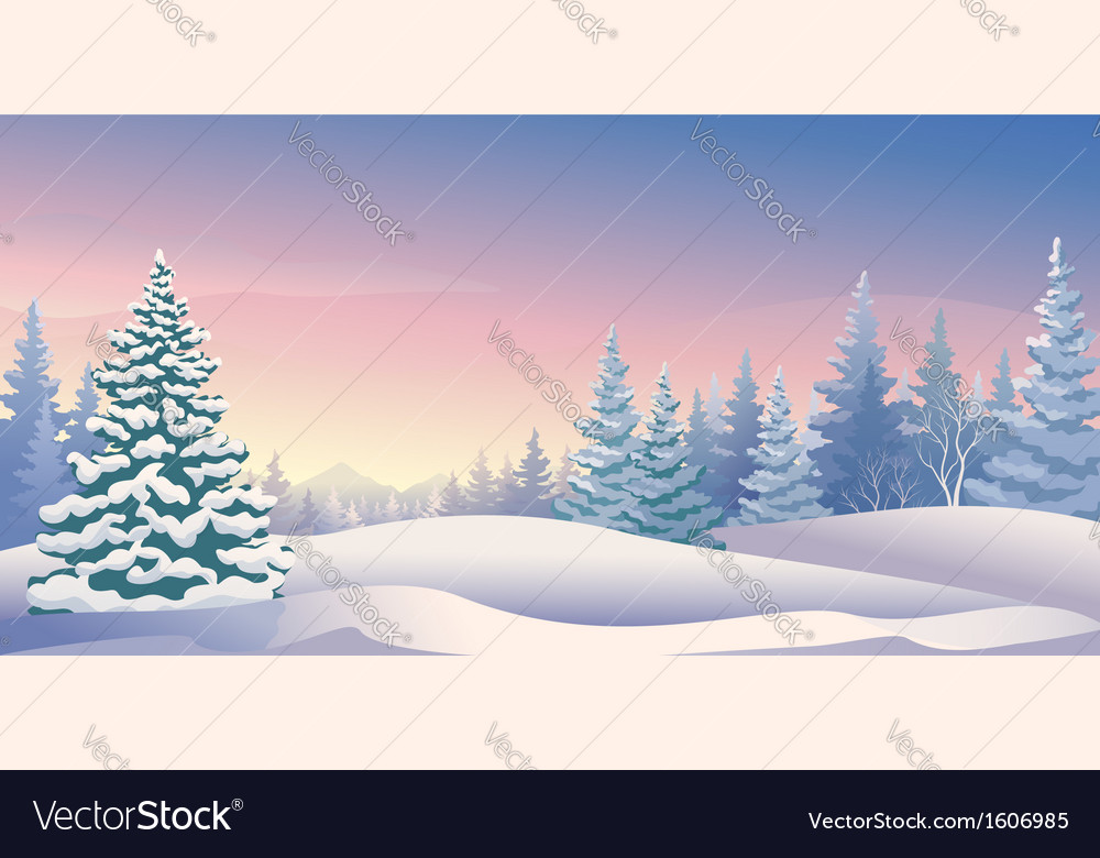 Winter sunrise panoramic vector | Price: 1 Credit (USD $1)