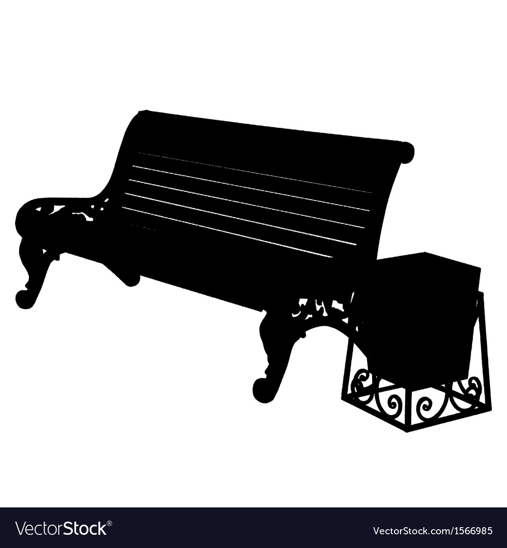 Wooden bench with an urn isolated on white backgro vector | Price: 1 Credit (USD $1)