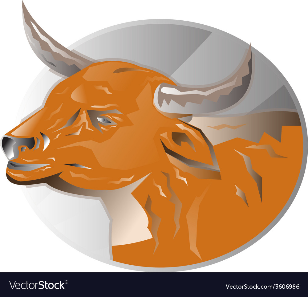 Angry bull head retro vector | Price: 1 Credit (USD $1)