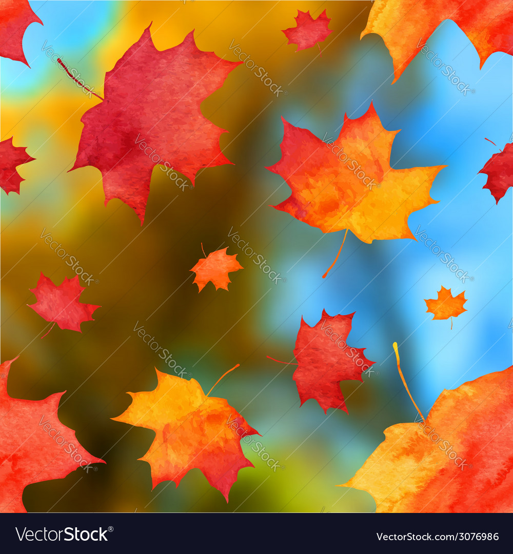 Autumn watercolor leaves on blurred background vector | Price: 1 Credit (USD $1)