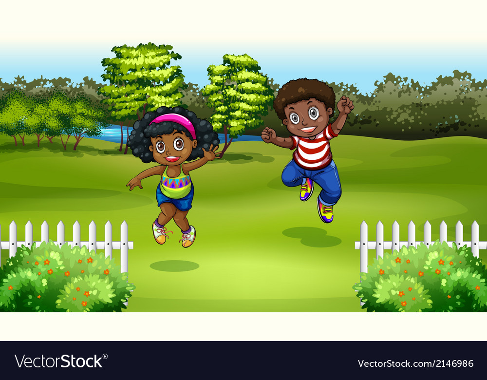 Black kids near the trees vector | Price: 3 Credit (USD $3)