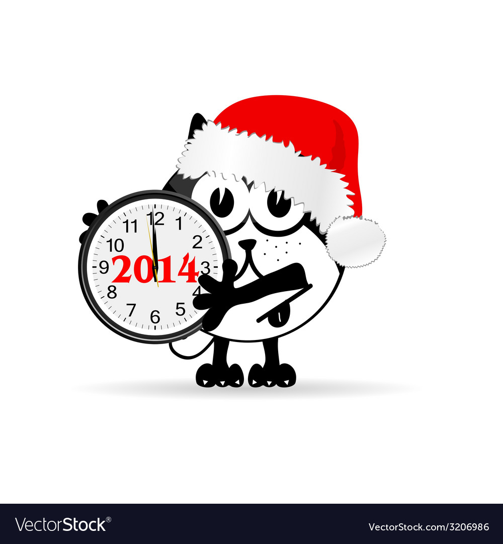 Funny animal with new year clock vector | Price: 1 Credit (USD $1)