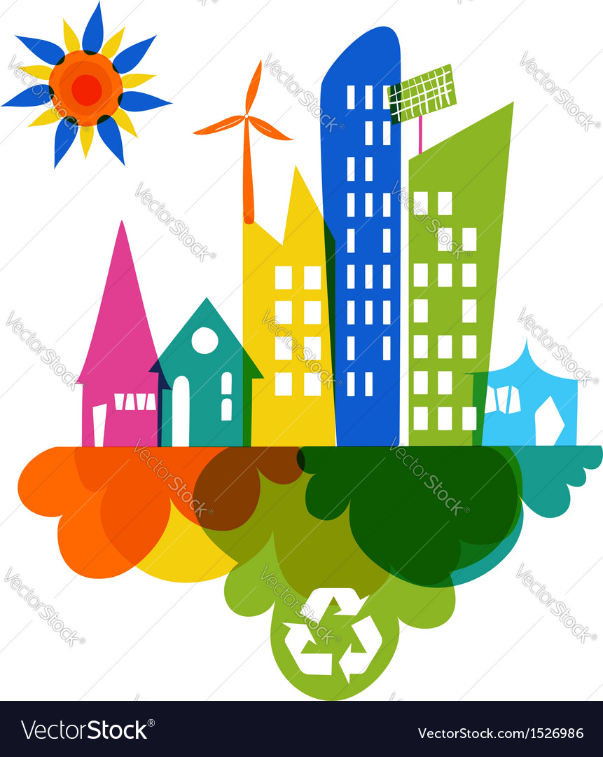 Go green colorful city recycle icon vector | Price: 1 Credit (USD $1)
